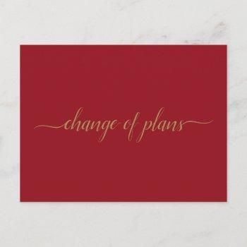 change of plans wedding postponed gold on red announcement postcard