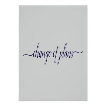 Small Change Of Plans Wedding Postponed Navy Blue & Gray Announcement Postcard Front View