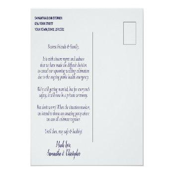 Small Change Of Plans Wedding Postponed Navy Blue & Gray Announcement Postcard Back View