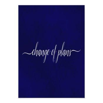 Small Change Of Plans Wedding Postponed Simple Navy Blue Announcement Postcard Front View