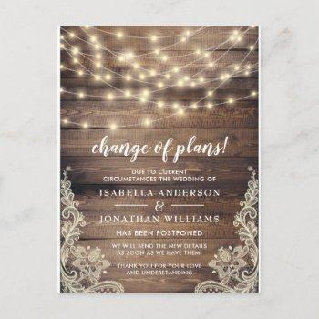 change of plans wood & string lights wedding invitation postcard