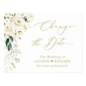 change the date gold script green and white floral postcard