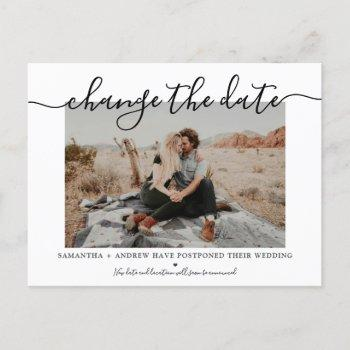 change the date modern chic typography photo announcement postcard