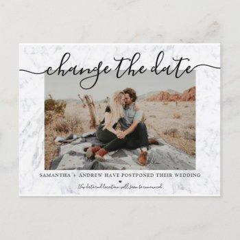 change the date modern marble typography photo announcement postcard