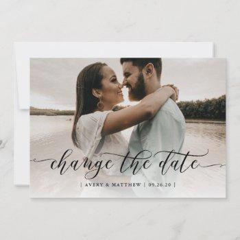 change the date photo minimal modern calligraphy announcement
