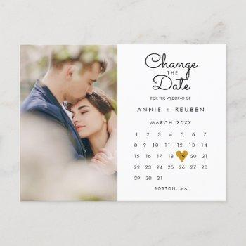 change the date postponed calendar photo announcement postcard