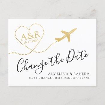 change the date travel destination wedding announcement postcard