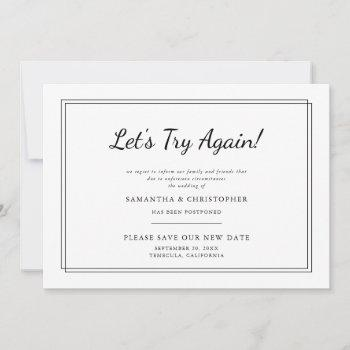 change the date wedding let's try again announcement