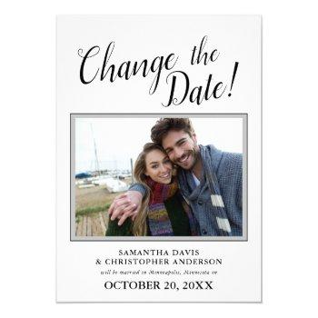 changed the date photo calligraphy wedding invitation