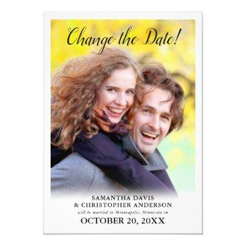 changed the date vertical photo wedding invitation