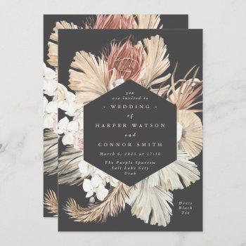 charcoal cream pampas grass dried gray wedding invitation