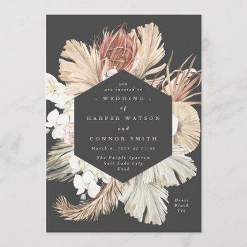 charcoal floral pampas dried grass tropical jungle invitation