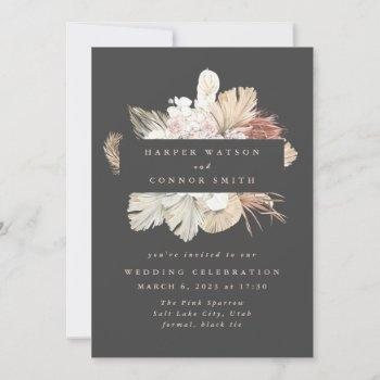 charcoal wreath pampas grass floral cream wedding invitation