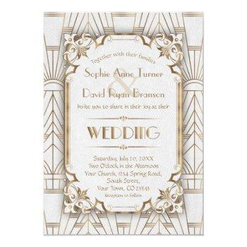 charm gold white art deco great gatsby wedding invitation