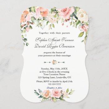 charm watercolor blush cream floral wedding invitation