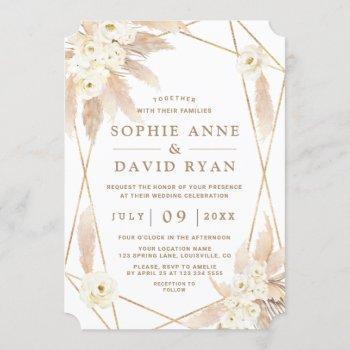 charm white roses pampas grass gold wedding invitation