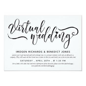 Small Charming Heart Brush Script Virtual Wedding Invitation Front View