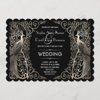 charming silver art deco peacocks wedding invitation