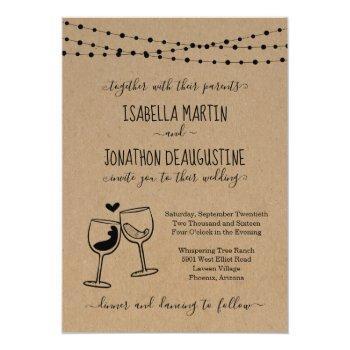 cheers wine theme winery wine theme wedding invitation