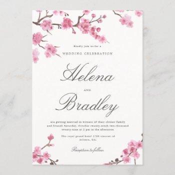 cherry blossom autumn   pink wedding invitation