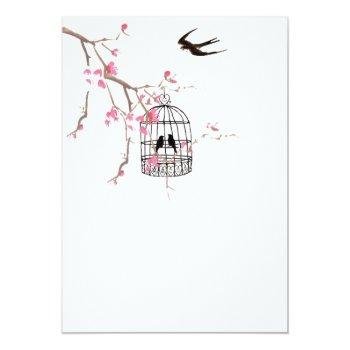 cherry blossom, birdcage card, invite