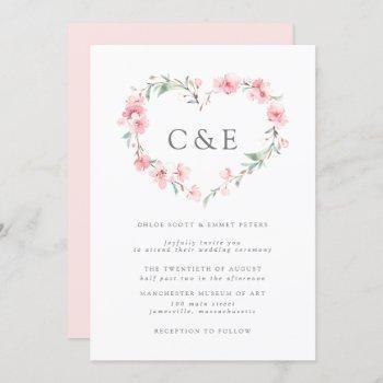 cherry blossom botanical heart monogram wedding invitation