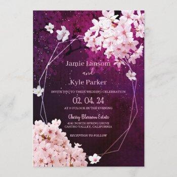 cherry blossom geometric floral wedding invitation