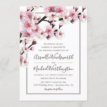 cherry blossom pink white wedding invitations