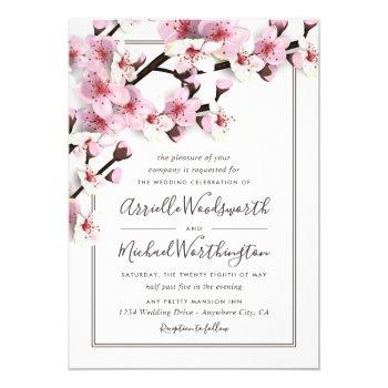 cherry blossom pink white wedding invitations