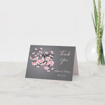 cherry blossom (sakura) on gray wedding thank you invitation