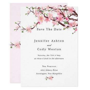 cherry blossom spring wedding save the date invitation