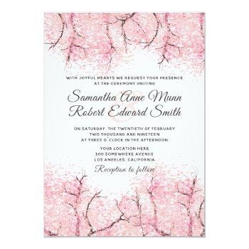 cherry blossom tree wedding invitation