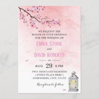 cherry blossom vintage lantern pink floral wedding invitation