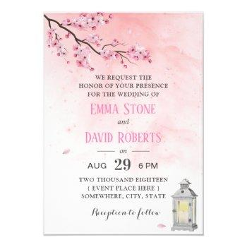 cherry blossom vintage lantern pink floral wedding invitation
