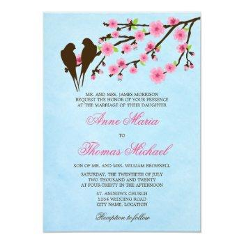 cherry blossoms and love birds wedding invitation