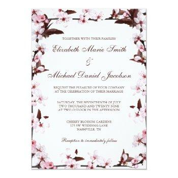 cherry blossoms border wedding invitation