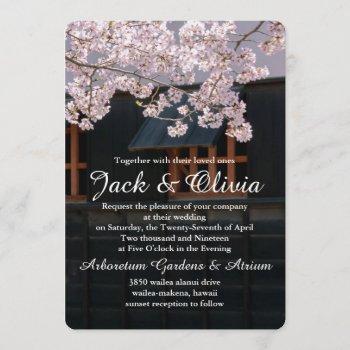 cherry blossoms flowers wedding invitation