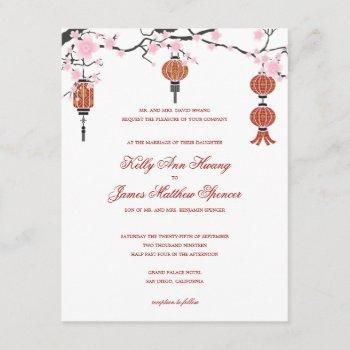 cherry  blossoms & red lanterns | wedding cards