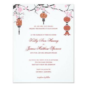 cherry  blossoms & red lanterns | wedding cards