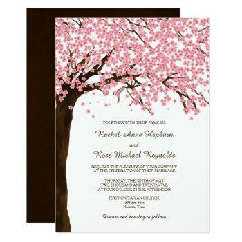 cherry blossoms sakura watercolor wedding invitation