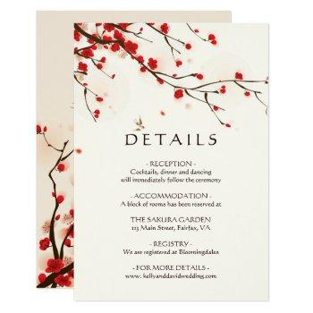 cherry blossoms watercolor floral wedding details invitation