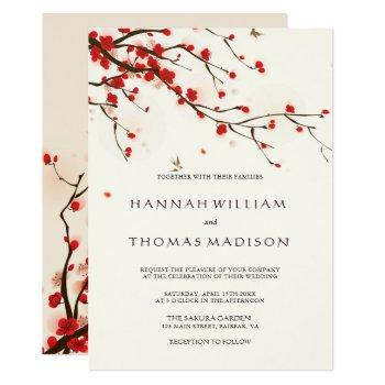 cherry blossoms watercolor wedding invitation