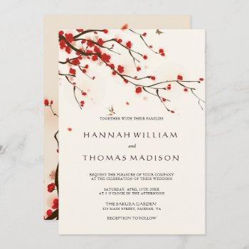 cherry blossoms watercolor wedding invitation