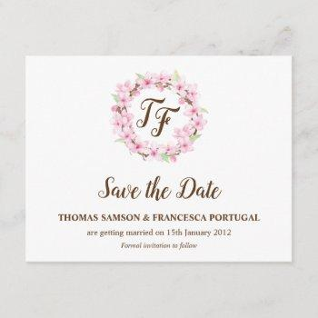 cherry blossoms watercolor wedding save the date invitation