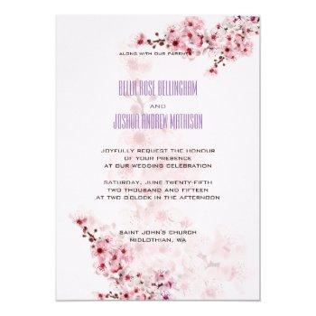 cherry branches wedding invitation