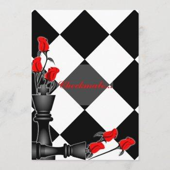 chess and roses gothic wedding invitation