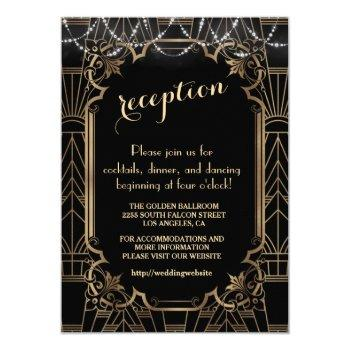 chic black gold great gatsby 1920s reception invitation