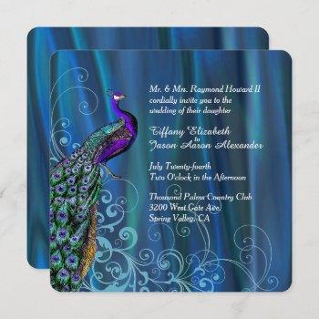 chic blue satin and peacock wedding invitation