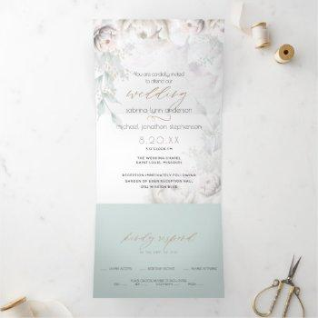 chic blush coral white peonies all in one wedding tri-fold invitation
