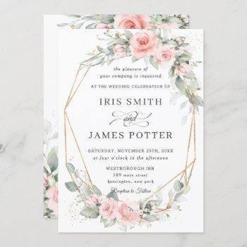 chic blush pink floral greenery wedding geometric invitation